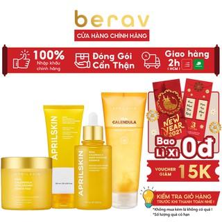 Bộ Chăm Sóc Da Chuyên Sâu Hoa Cúc April Skin Real Calendula ( Gel + SRM + Serum + Toner ) thumbnail