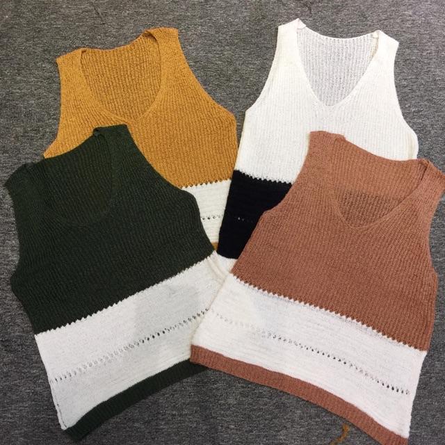 Áo len pha màu