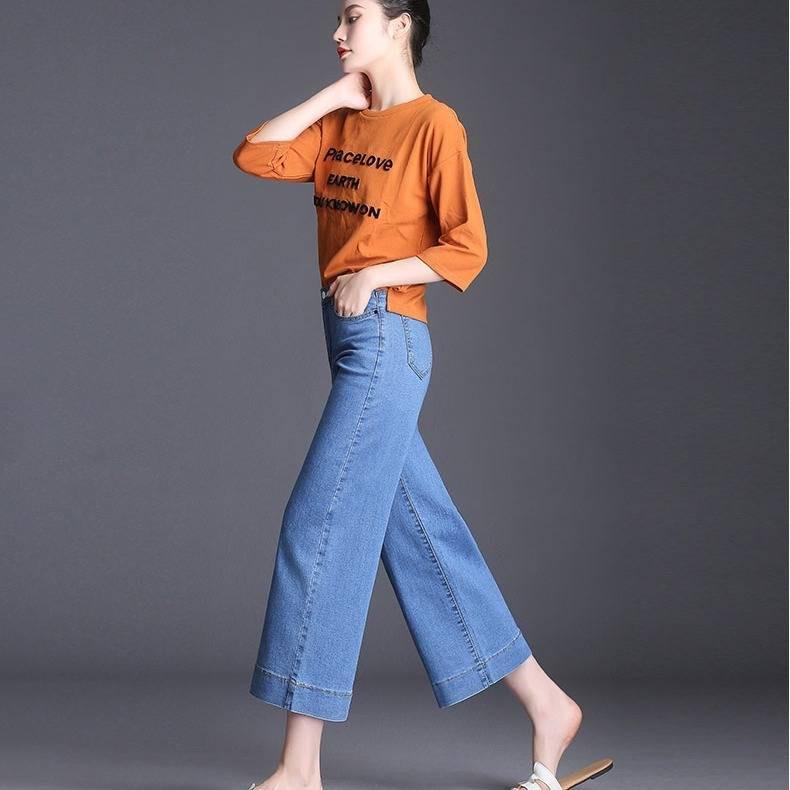 กางเกงยีนส์สตรีขากว้างเก้าแต้มกางเกงยีนส์กางเกงยีนส์ตรงเจ็ดจุดผอมของผู้หญิง(s-xxxl)