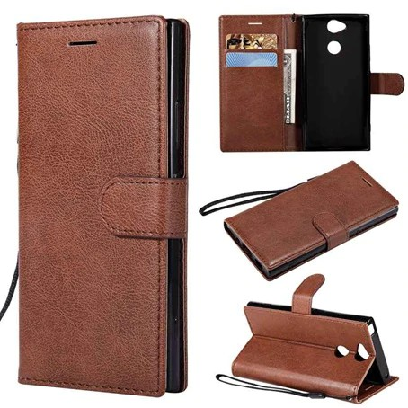For Sony Xperia XA2 Flip Simple Leather Wallet Cell Case