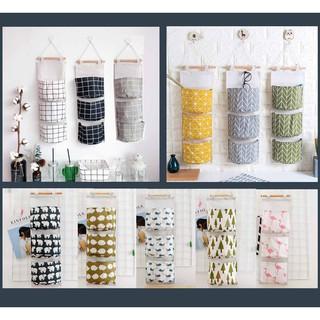 (15 mẫu) Túi treo tường nhiều ngăn xinh xắn đựng đồ tiện lợi (3 ngăn)
