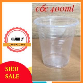 ( Ship hỏa tốc HN ) Combo 50 cốc nhựa dùng 1 lần loại 400ml có nắp thumbnail