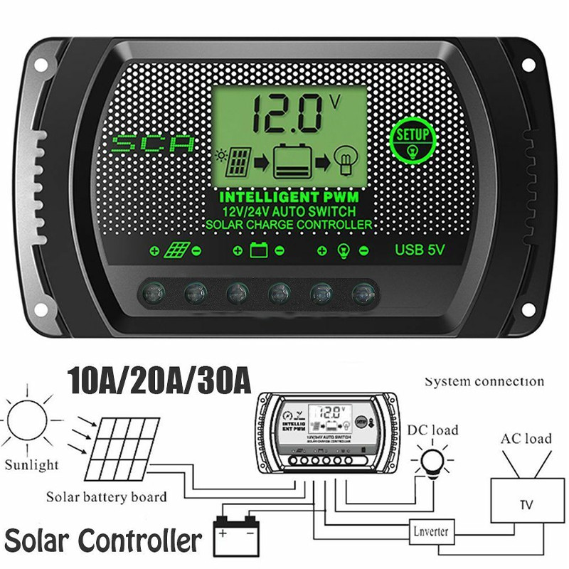 Điều khiển sạc năng lượng mặt trời12/24V PWM 10A USB 5V hiển thị LCD