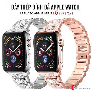 Dây Đeo Apple Watch Thép Không Gỉ Đính Đá Sang Trọng Series 5/4/3/2/1 38mm/ 40mm/ 42mm/ 44mm