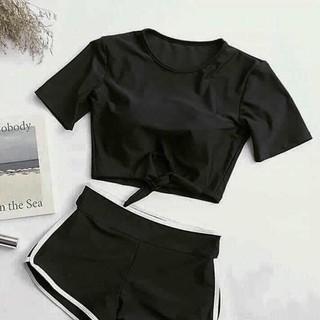 Bikini 2 mảnh áo cộc tay cột hông quần đùi thể thao trắng
