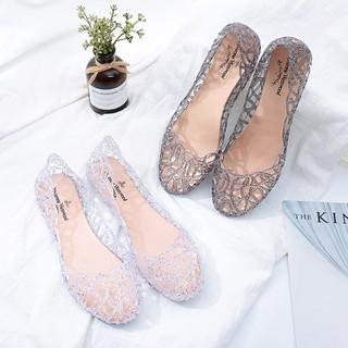 Giày đế bằng nữ búp bê nhựa đi mưa siêu bền đi thoáng và êm chân V217
