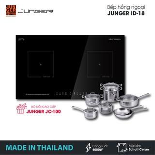 Bếp đôi hồng ngoại Junger ID-18 - Công suất 4000W - mặt kính Schott Ceran | Bảo hành 2 năm | MADE IN THAILAND
