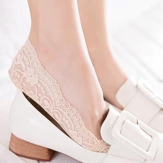 vớ ren chống trượt mang giày cao gót, giày búp bê (màu Kem, màu đen) - PK07 6