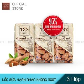 Sữa Hạt HẠNH NHÂN Nguyên Chất không ngọt – Lốc 3 hộp 180ml