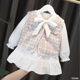 Set váy kết hợp áo gile dạ bé gái từ 3 tháng-4 tuổi PVD.014-TE2585
