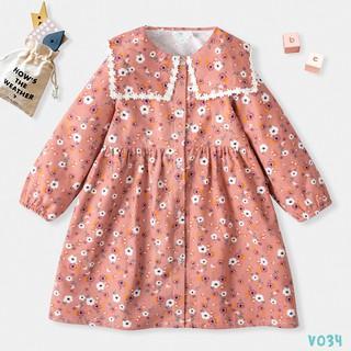 Váy Dạ Thu Đông Cho Bé Họa Tiết Hoa Nhí Cổ Phối Ren Bello Land