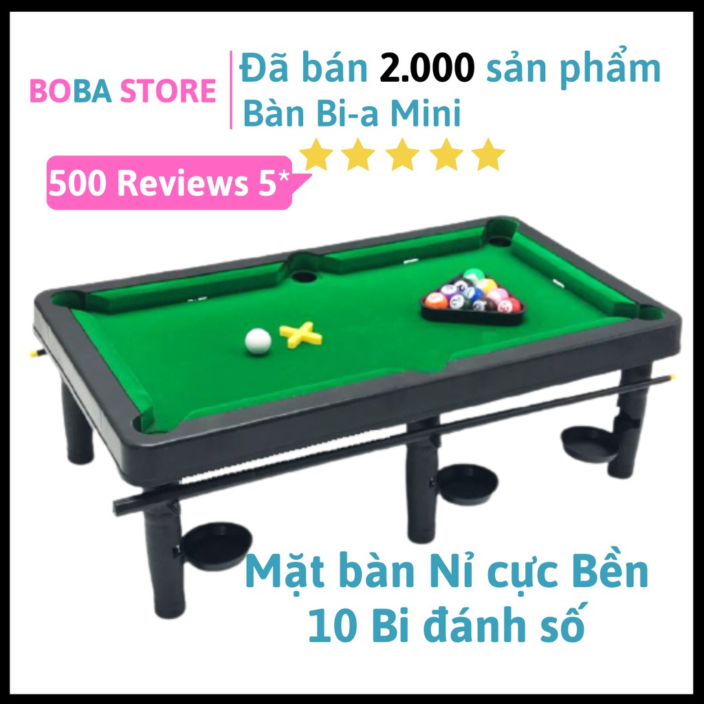 Bàn Bi a Mini BoBa Store Bida Mini giá rẻ cho trẻ em và người lớn, 10 bi Đánh Số – Mặt bàn Nỉ không bong