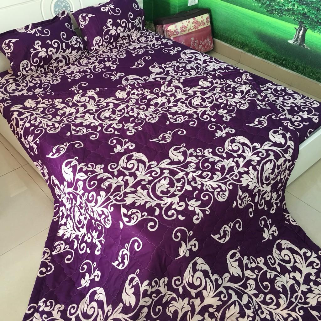 [Sales 50%] bộ 5 món chăn hè ga gối - drap giường cotton poly mẫu móc tím siê