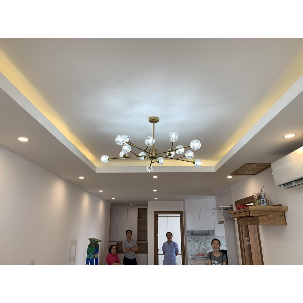 Đèn Chùm Thả Trần – Đèn Thả Trần Trang Trí Phòng Khách, Đèn gắn trần, ánh sáng vàng 15 tay  – Bảo Hành 12 Tháng