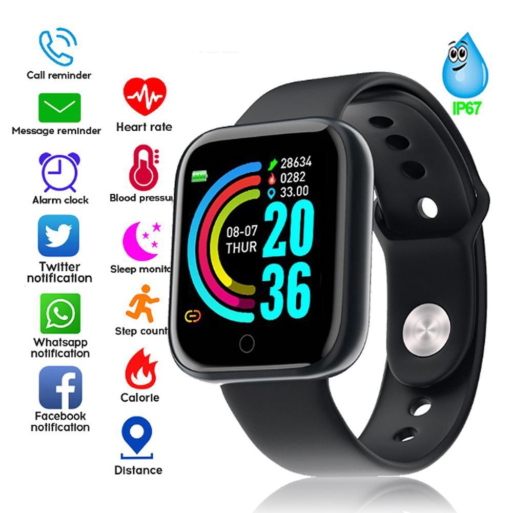 Đồng hồ thông minh Y68 Huyết áp Nhịp tim Thông minh Dây đeo cổ tay Thể dục Theo dõi Thể thao Smartwatch nam nữ 1.3 Inch