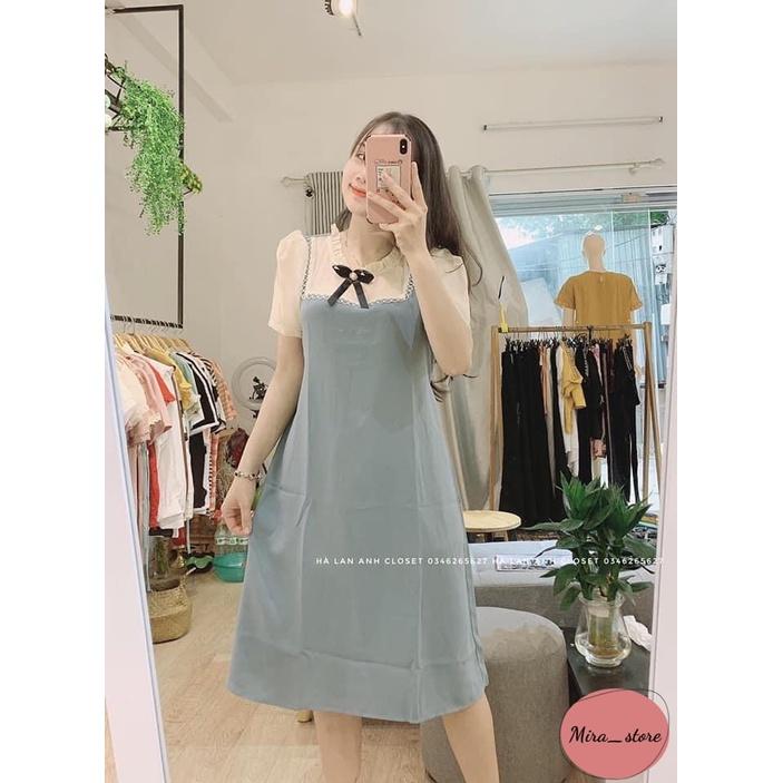 Mặc gì đẹp: Dễ chịu với Váy Bầu Công Sở [FREESHIP] Đầm Bầu Dáng Suông Thiết Kế Kẻ Nơ Cổ freesize từ 40-80kg