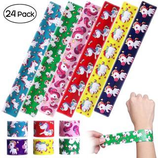 【IBASETOY】 24Pcs Unicorn Print Slap Bracelets Circle Wristbands Party Favors Goody Bag Toys for Kids Boys Girls