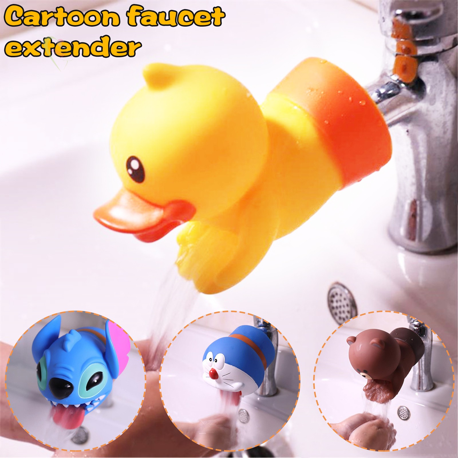 LE Cute Cartoon Shape Faucet Extender Water Saving Faucet Extension Tool For Kids Bathroom and Kitchen Supplies @VN