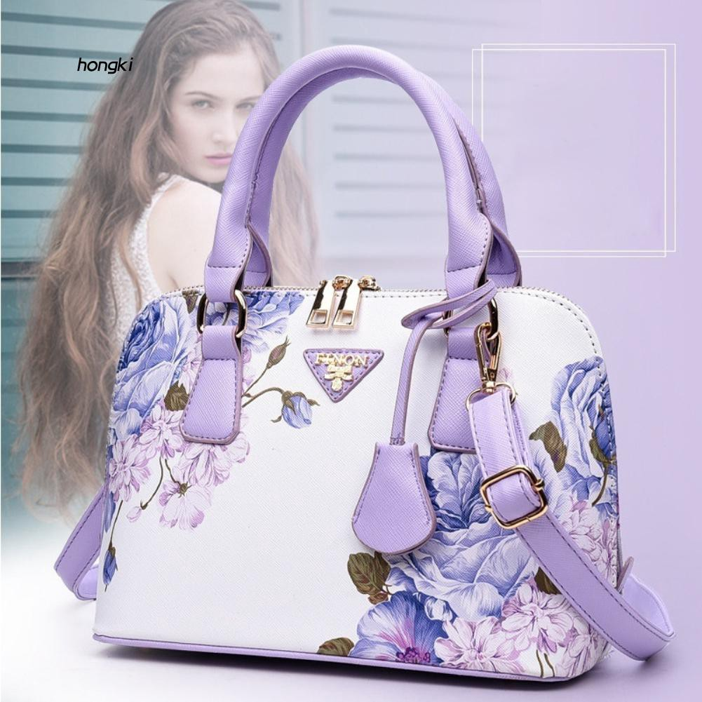 HKM1_Elegant Chic Lady Shell Bag Cross Body Floral Print Faux Leather Handbag Gift