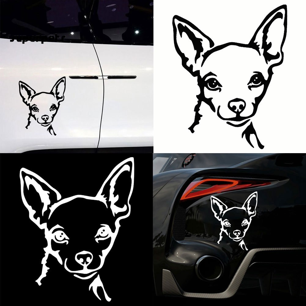 super_Cute Chihuahua Dog Car Vehicle Motorcycle Reflective Decals Sticker Decoration
