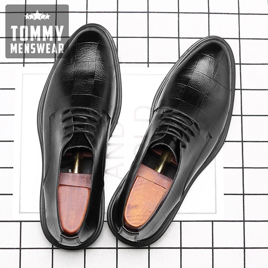 Giày Tây Nam - TẶNG TẤT - Giày Nam Cao Cấp Hàng Hiệu Men Lỳ GD90