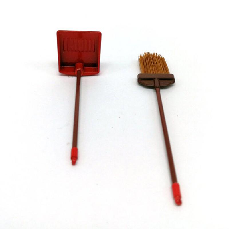 Coagulatepower 1:12 dollhouse miniature red metal long handles broom and dust pan set