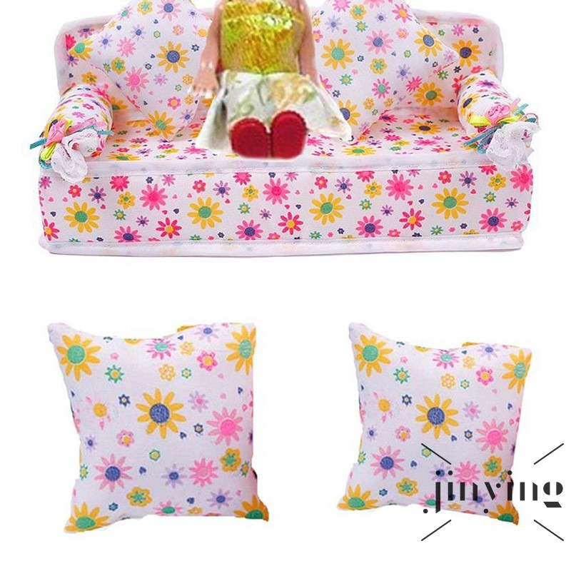 ❤S Wind Baby Doll House Accessories Mini Furniture Flower Sofa Couch With 2pcs