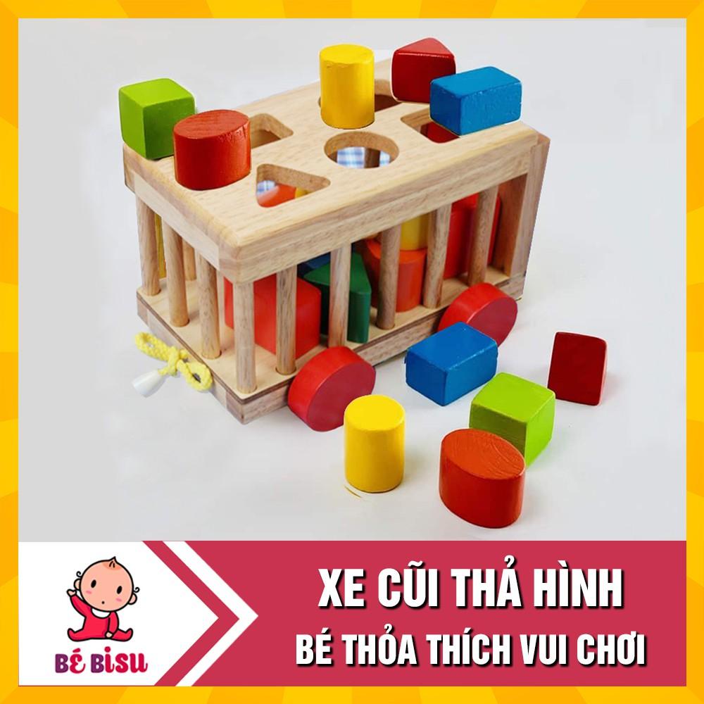Đồ chơi Xe gỗ thả hình khối – nhận biết hình và màu sắc cho bé