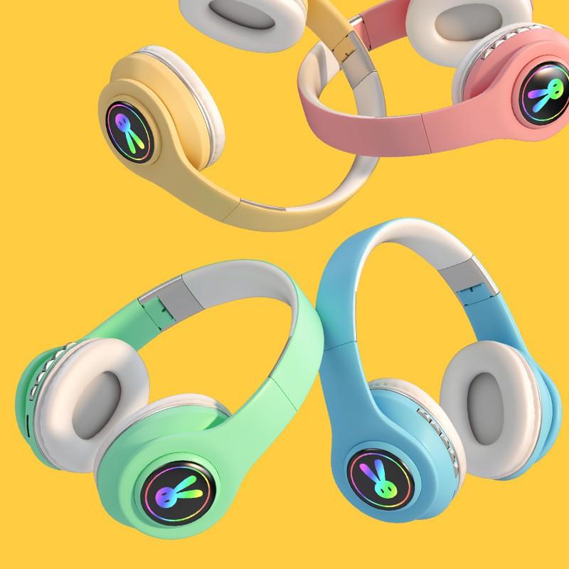 Tai Nghe Chụp Tai Bluetooth Dễ Thương Có Led Đổi Màu, Tai Nghe Bluetooth Chụp Tai Có Mic Đàm Thoại, Dung Lượng Pin Lớn