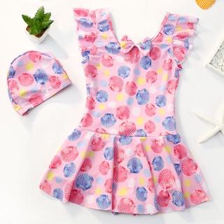 High-end Girls One Piece Swimsuit Cute Sleeveless Sport Beachwear Korean Kids Swimming Suit