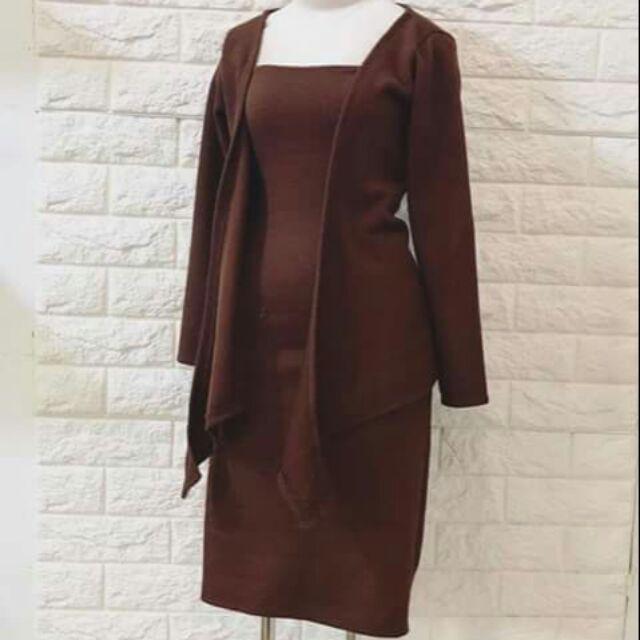 Set đầm body 2 dây + áo khoác