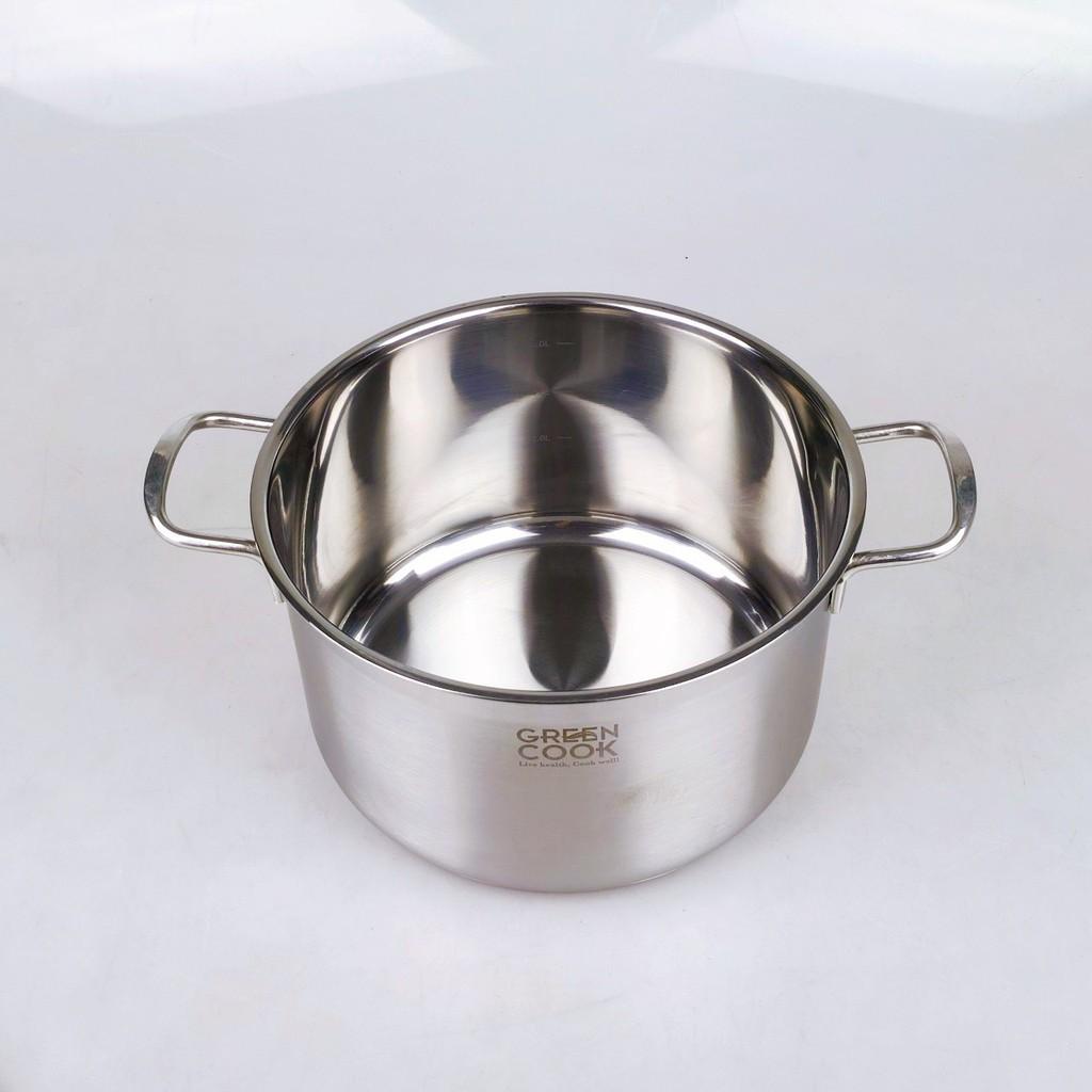 [Video chi tiết] Bộ nồi inox 3 đáy Greencook GCS06/T1 không bị nổi đáy, dùng được trên bếp ga, bếp hồng ngoại, bếp từ