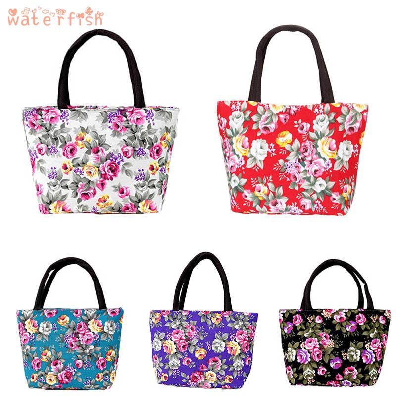 ✨♐✨ Simple Fashion Women Messenger Bags Canvas Flowers Printed Zipped Girls Handbag Ladies