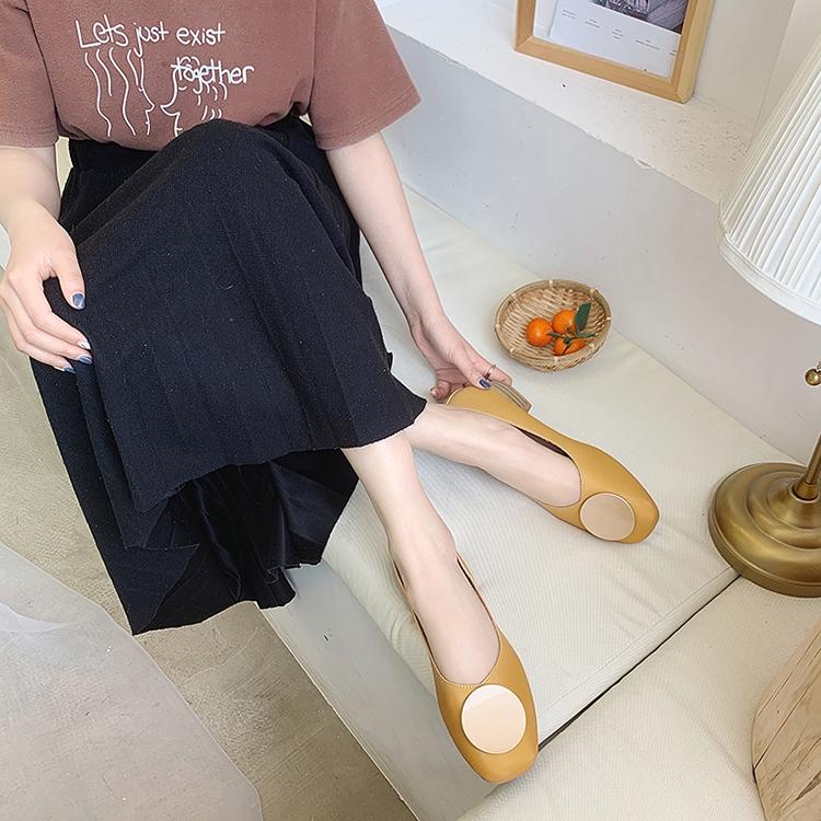 Giày Búp Bê Da Pu Mũi Vuông Đế Bằng Thời Trang Cho Nữ