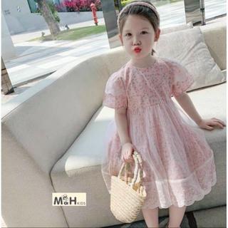 Váy Cho Bé Gái Hoa Nhí Tay Bồng Phối Vôn Lưới, size 15-27kg