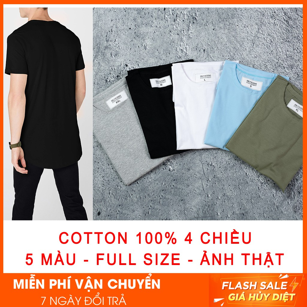 Áo thun nam longtee vạt bầu cotton 100% 4 chiều - Áo ngắn tay không cổ