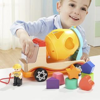 Mô hình xe đồ chơi gỗ có các khối hình học bắt mắt đồ chơi phát triển tư duy cho bé