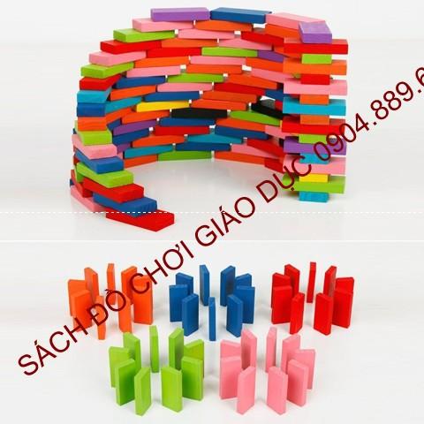 Domino gỗ nhiều màu 120 chi tiết
