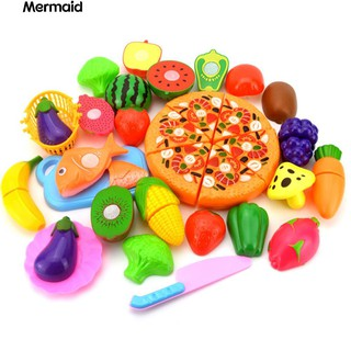 💖24Pcs/Set Fruit Vegetable Pizza Preschool Kid Role Play Cutting Toy Gift