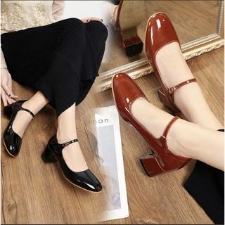 Giày Mary Jane retro cổ điển màu đỏ và màu đen mã 8805 (có sẵn)