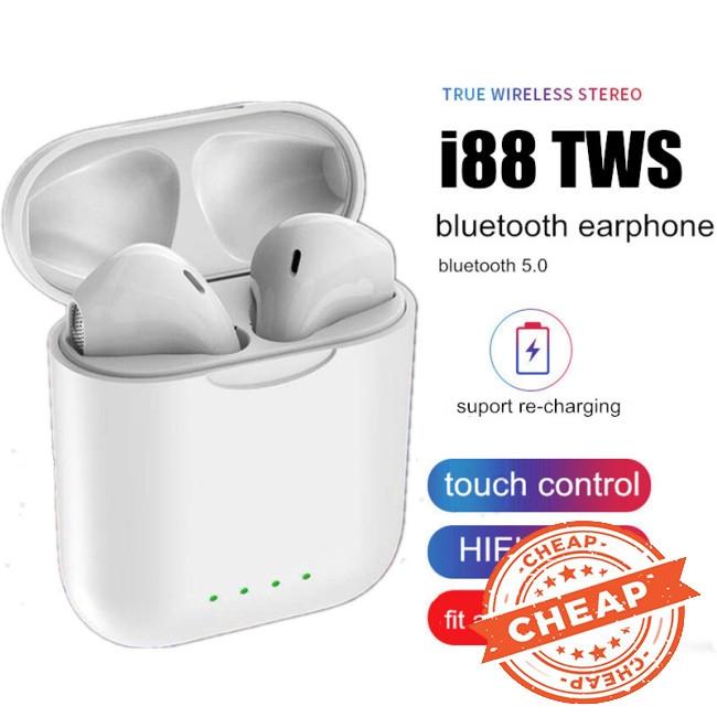 i88 TWS Bluetooth 5.0 Earphone Mini Wireless Earpod Touch Earbuds Earphones for iPhone Andorid