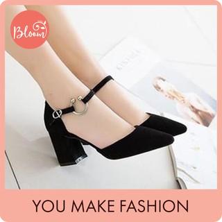 Giày cao gót nữ đế vuông 7p mũi nhọn da lộn Giày cao gót đế vuông sandal 5p bít gót chữ C KHOAC