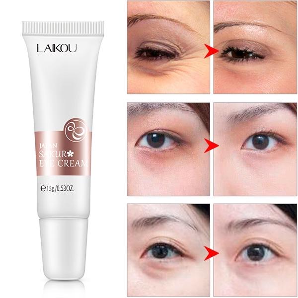 Bộ mỹ phẩm LAIKOU kem dưỡng da mắt 15g + serum hoa anh đào 17ml + mặt nạ dưỡng da 3g