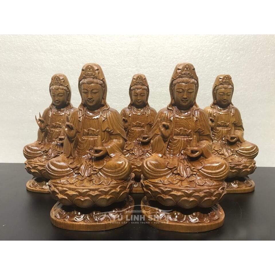 Tượng gỗ Phật bà để taplo