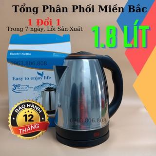 ( Thanh Lý Mới ) Ấm Siêu Tốc Đun Nước Mini – Bình Siêu Tốc iNox 1.8L- Tự Ngắt- Giá Rẻ- BH 12 Tháng
