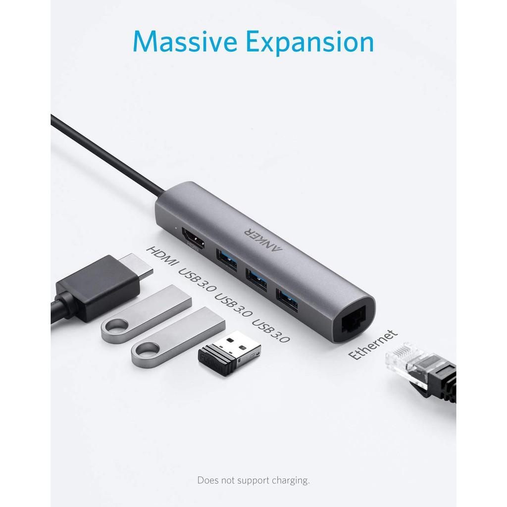 Bộ chia Anker USB-C 5 trong 1, 4k USB-C ra HDMI, Ethernet 1Gbps, 3 x USB3.0