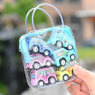 6pcs/bag Toy Set Simulate Car Children Education Mini Truck Boy Inertia Model Portable Vehicles Trailer Push
