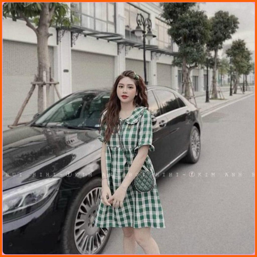 Mặc gì đẹp: Dễ chịu với Váy bầu công sở - đầm bầu mùa hè kẻ xanh chất thô hàn mềm mịn BN45 - Xiimom