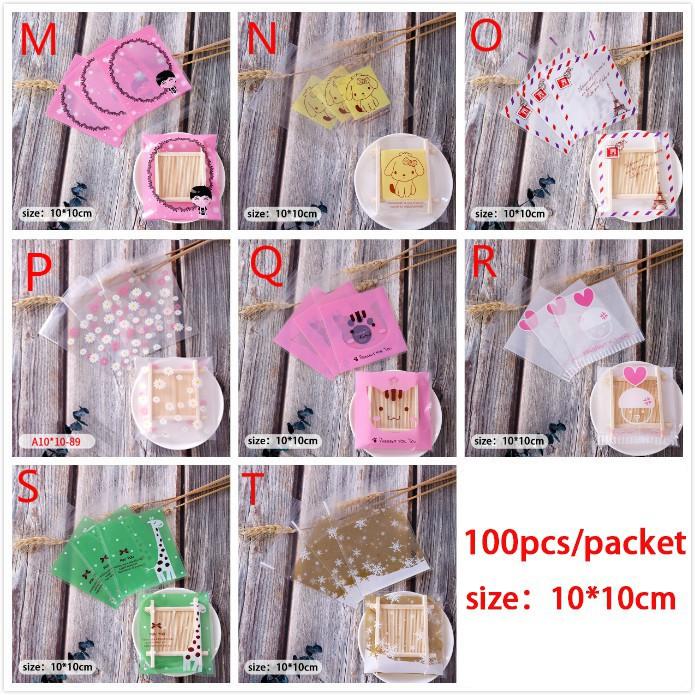 Set 100 túi đựng bánh kẹo trong suốt thiết kế băng keo để đậy kín tiện dụng