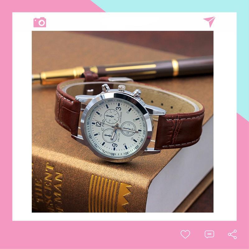 Đồng hồ nam dây da thời trang phong cách Hàn Quốc cực đẹp CFHD DH101